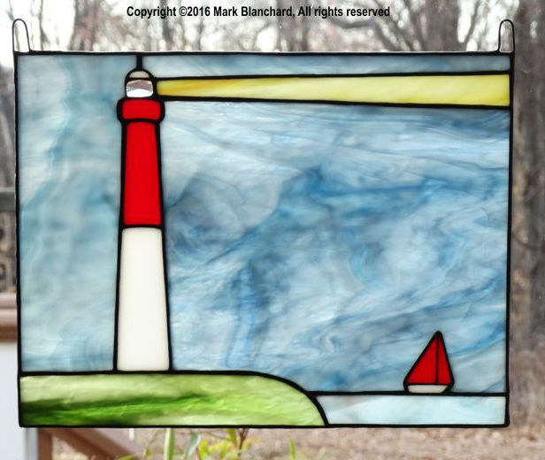 Barnegat Lighthouse with Sailboat Stained Glass Panel