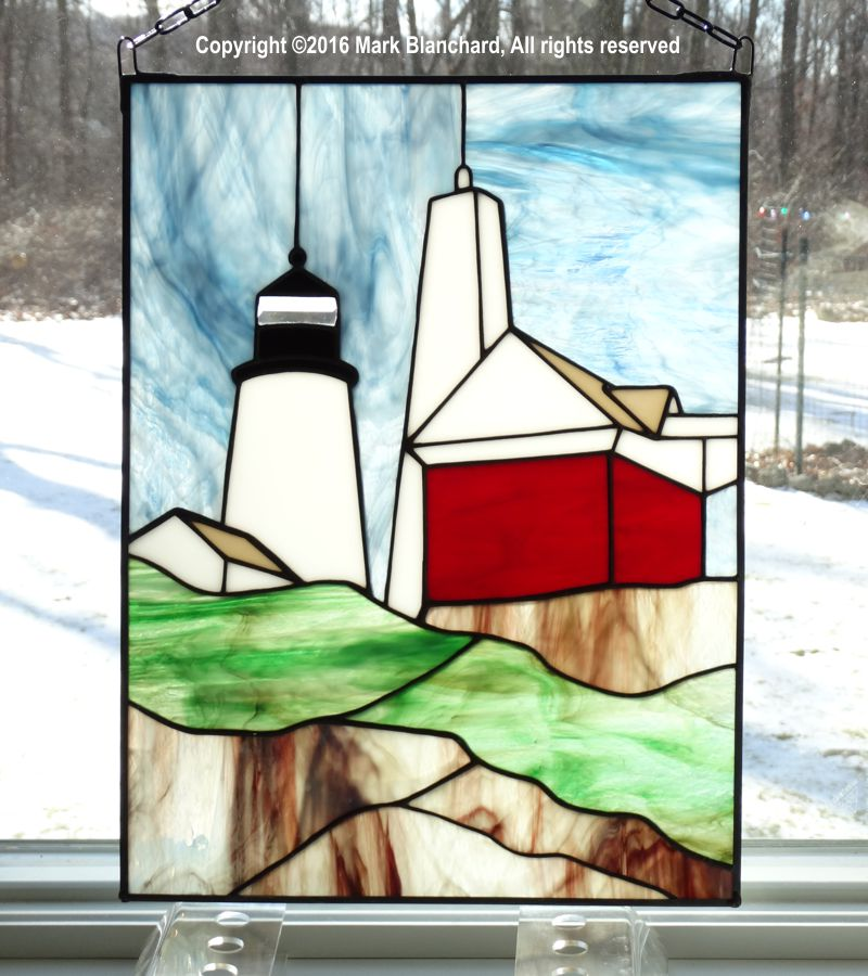 Pemaquid Point Lighthouse Stained Glass Window Panel