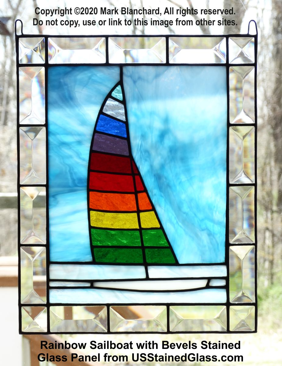 Rainbow Sailboat Stained Glass Panel With Bevels