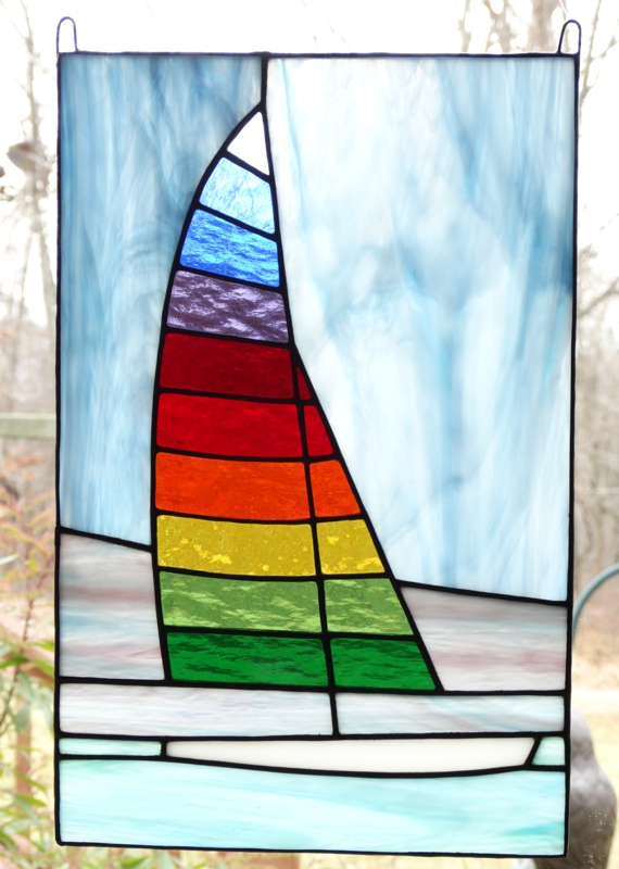 Sailboat Stained Glass Window Panel For Sale
