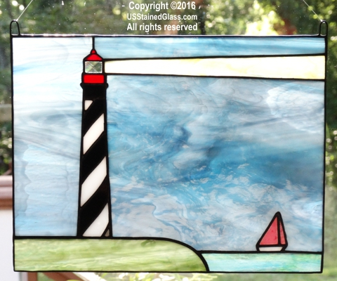 St Augustine Lighthouse Stained Glass Panel