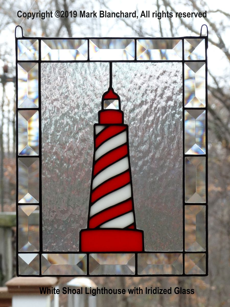 White Shoal Lighthouse Stained Glass Panel with Bevels