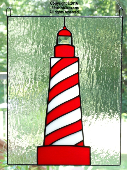 White Shoal Light Stained Glass Lighthouse Panel